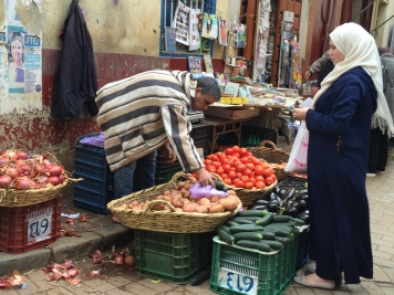 Sunday market shopping in Tangier's medina