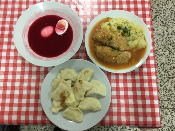 Pierogis, beet soup and gołąbki at Bar Kazimierz