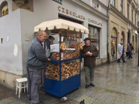 Selling obwarzanek krakowski in the old town