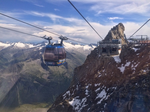 The Gletscherbus 3 funitel lift near the top of Hintertux at 3250 meters above sea level
