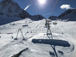 "Three separate lifts over the Eisjochferner slope, the ""main drag"" of early-season glacier skiing at Stubai, October 2016"