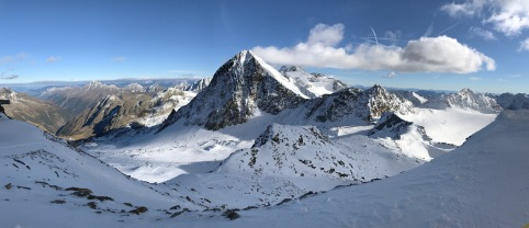 View of the 3,333 meter high Schaufelspitze peak and some of Stubai's glacier ski area from the top of the Wildspitz chairlift
