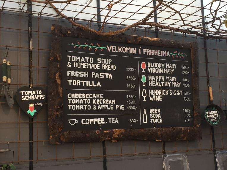 Friðheimar's tomato-based menu