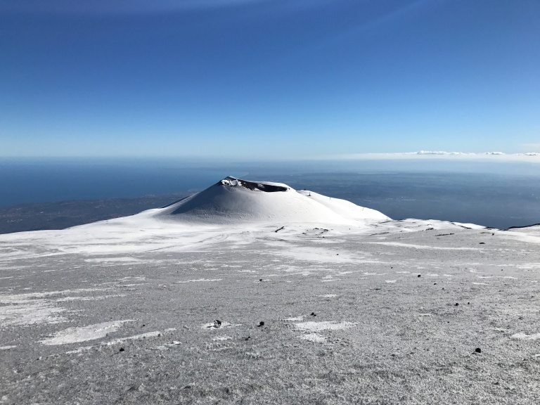 Etna Sud crater and sea