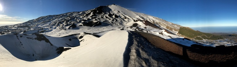 Etna Sud panoramic from Silvestri Crater
