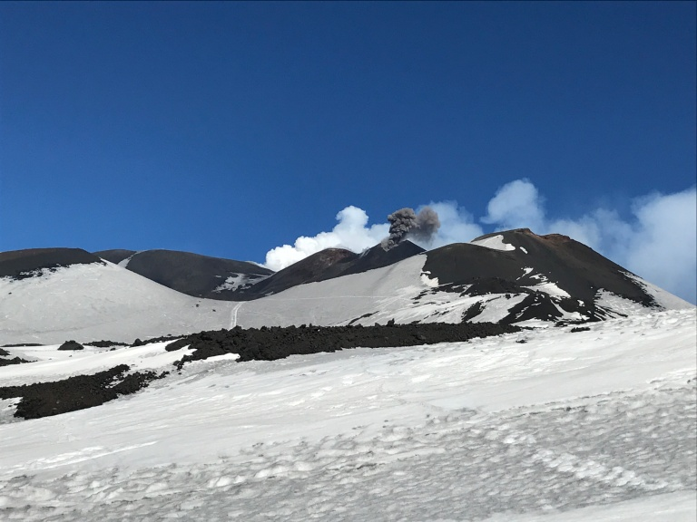 Etna Sud summit with black and white smoke