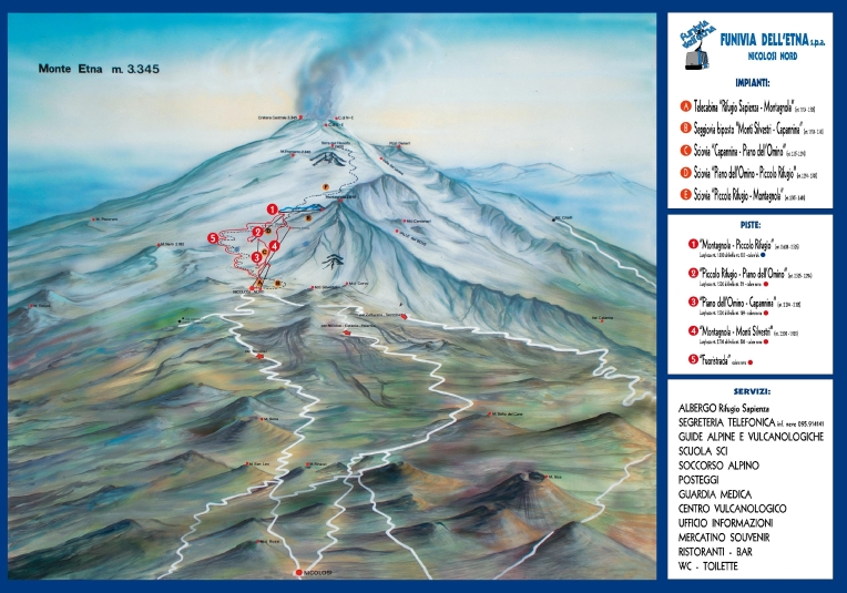 Etna Sud trail map