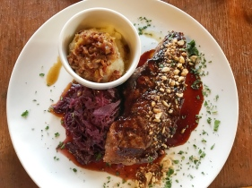 Local Oregon beef served with cabbage and hazelnuts at the Cascade Dining Room