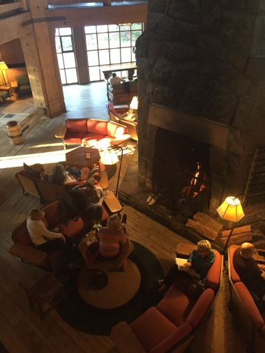 Relaxing around the fireplace at the lodge