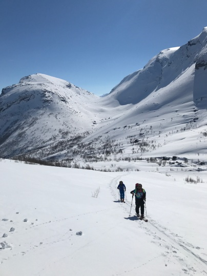 Skinning through some beautiful scenery on our first day in the backcountry around Narvik