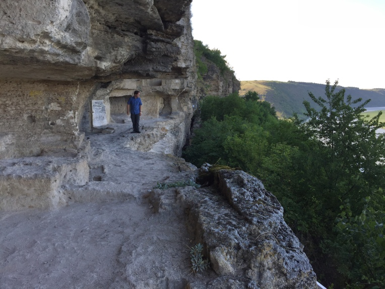 Exploring the old cave church at Țîpova Monastery