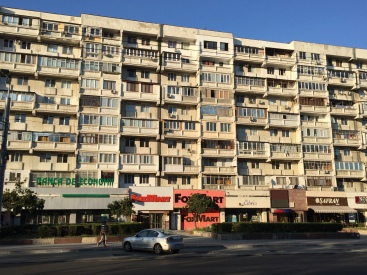 Communist-era apartment buildings in downtown Chișinău