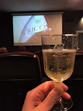 A glass of Cricova's sparkling wine during the viewing of their informational movie