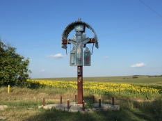 Roadside crucifix in rural Moldova