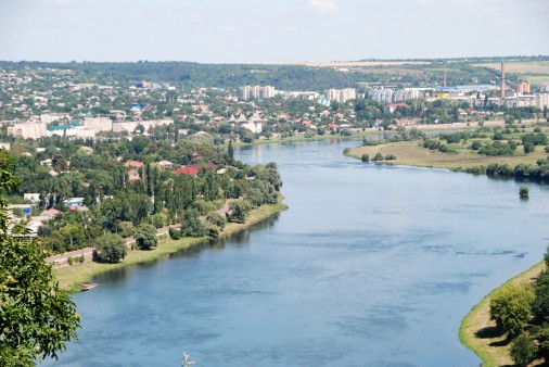 The Dneister River seperating Moldova (on the left) and Ukraine (on the right). Soroca Fortress is visible on the Moldova side of the river.