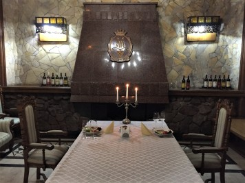 Lunch in the underground tasting room at Mileștii Mici