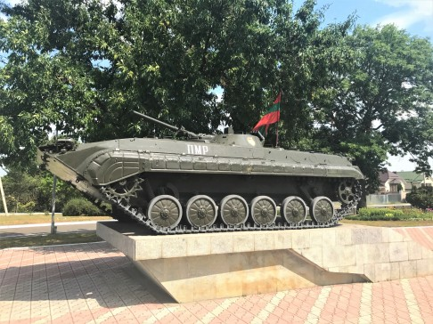 A tank on display at Bender's Memorial Park