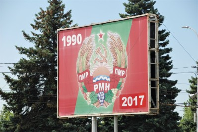 Billboard in Tiraspol celebrating 27 years of existence as an independent state
