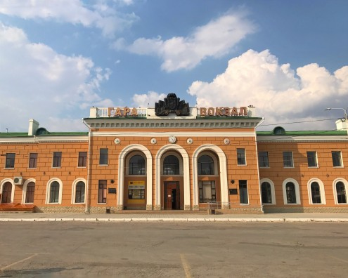 Tiraspol's train station—passenger trains head to Odessa and Chişinău.