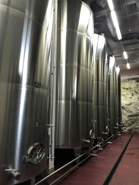 Wine storage tanks at Chateau Vartely