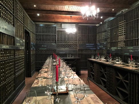Tasting room at Chateau Vartely, showcasing their wine collection from around the world.