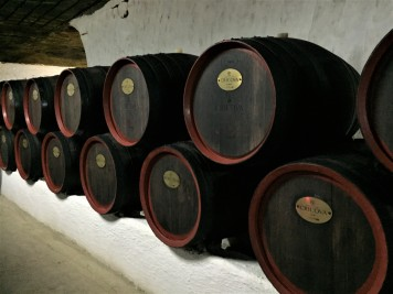 Barrels of wine in storage at Cricova Winery