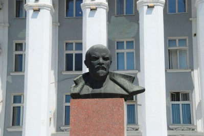 A bust of Lenin sits outside the House of Soviets in Tiraspol