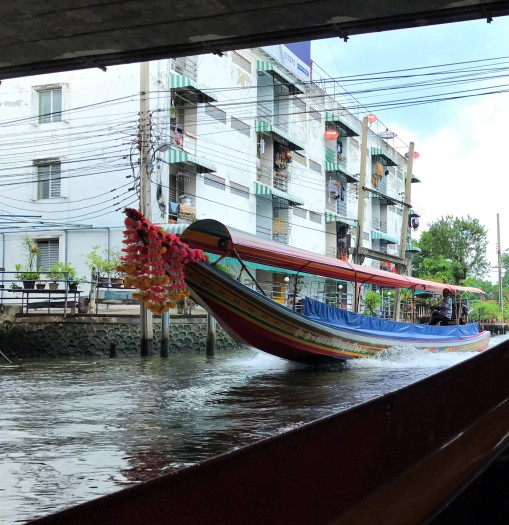 A long-tail boat on the canals in Thonburi