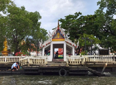 A temple on the river edge in Thonburi