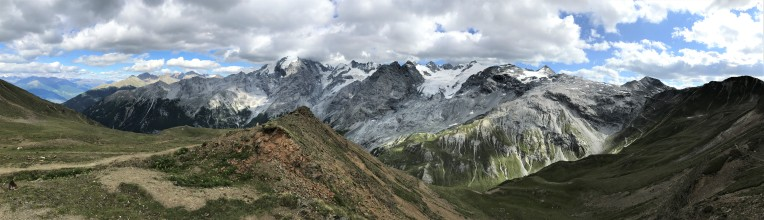 Mountain panorama above Passo dello Stelvio