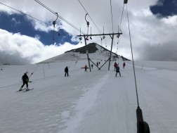 Riding up the twin Geister ski lifts