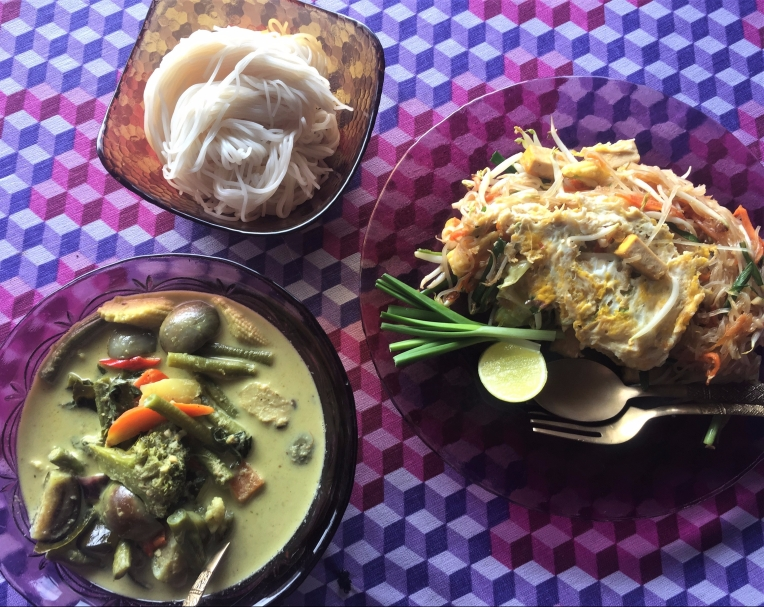 From ingredient shopping in the morning to finished product at lunch—pad thai and green curry cooked at our guest house