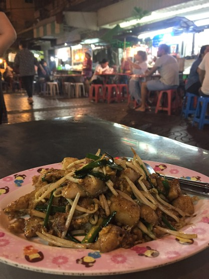 A vegetarian feast—turnip cake and vegetables in Bangkok's Chinatown