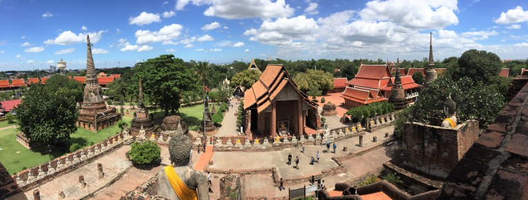 Panoramic view from the base of the chedi at Wat Yai Chaimongkhon
