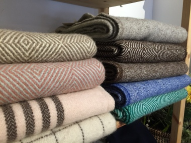 Woolen goods for sale at Ecolã—the wool comes from sheep raised in Portugal's Serra da Estrela mountains