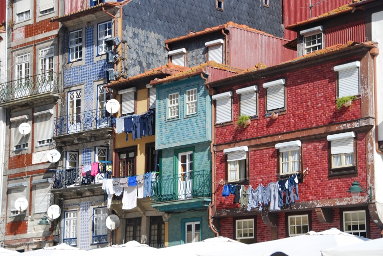 Colorful residences in the Ribeira area of Porto
