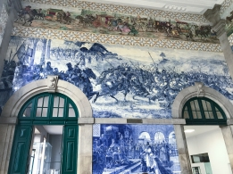 Ornate tiles in the lobby of Porto São Bento train station