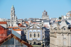 Porto city view, with the tiled facade of Igreja de Santo António dos Congregados and the tower of Monumento Almeida Garrett