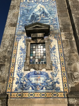 Azulejo tiles on the exterior of Igreja Paroquial de Santo Ildefonso