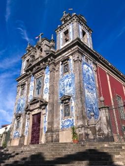 The tiled facade of Igreja Paroquial de Santo Ildefonso