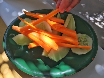 Often times served with meals, a side of fresh carrots, cucumber, and local cocomero