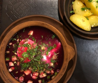 Cold beetroot soup, a summer staple