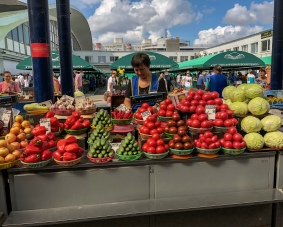 Summer bounty for sale at Komarovskiy Market