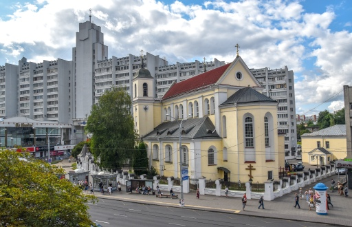The Orthodox Cathedral of St. Peter and St. Paul, surrounded by Soviet-era apartment buildings