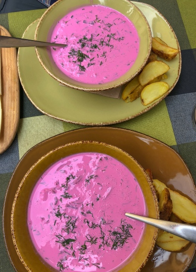 A summer favorite, Lithuania's cold beetroot soup (saltibarsciai)