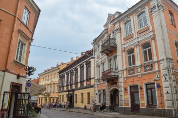 Historic buildings on Dominikonų gata