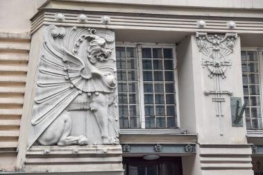 Art Nouveau details on a building in Riga