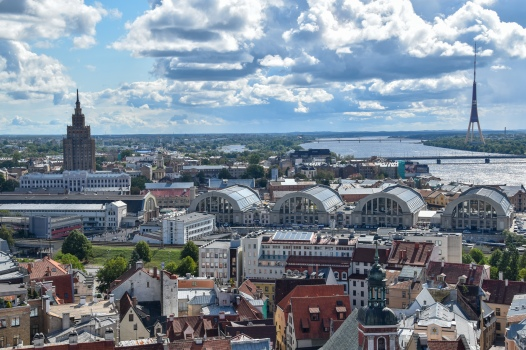Riga city, with the hangars of the Central Market and the Latvian Academy of Science in view