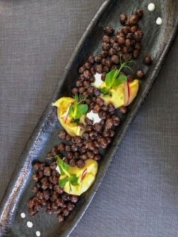 Latvian gray peas at the restaurant Milda