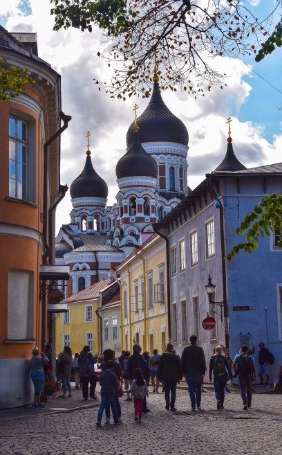 Alexander Nevsky Cathedral towering over the streets of Old Town Tallinn